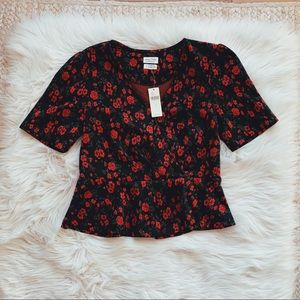NWT Anthro Meadow Rue Black Roses Floral Top